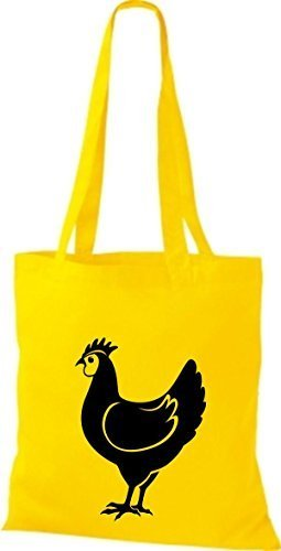 shirtstown Borsa di stoffa animale POLLO, pollo Giallo