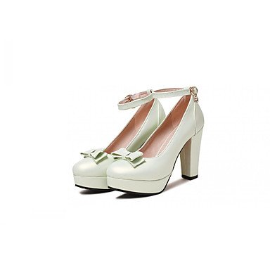 LYNXL Talloni delle donne Primavera Autunno Dress Comfort in similpelle ufficio & carriera Party & Sera tacco grosso bowknot Buckle Nero Verde Rosa Bianco White