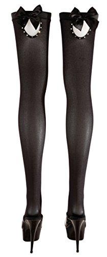 Cottelli Collection Stockings & Hosiery - halterlose Strümpfe für sie,  verführerische Strümpfe mit Schleife und Strassverzierung, schwarz