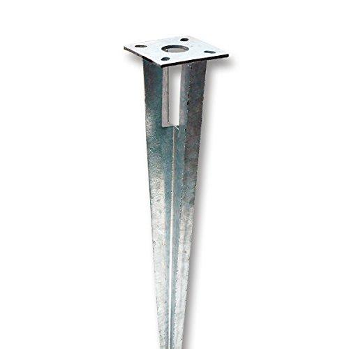 Bodenhülse Einschlaghülse mit Kopfplatte Pfostenträger für Rundpfosten 38 mm Ø, Länge 75 cm