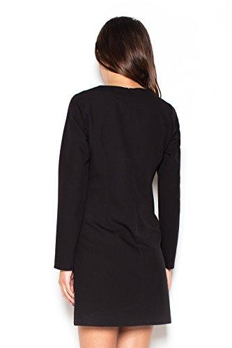 Katrus Robe simple avec rabats décoratifs et manches longues Noir