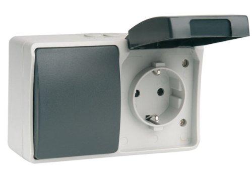 Simon brico estanca - Interruptor conmutador +base enchufe 250v serie estanca/o retráctil
