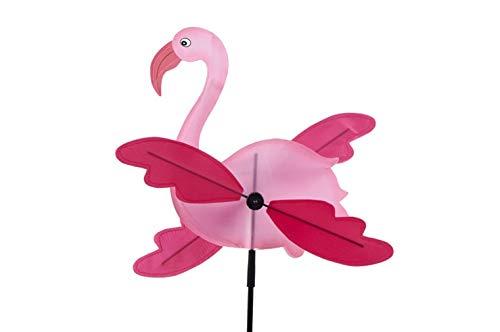 CP Girandola a Vento Bambini Mulino a Vento Giardino scaccia Uccelli Fenicottero Rosa Flamingo Diametro Circa cm 30 Altezza con Bastone Circa cm 130