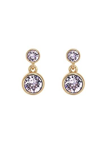 Karen-Millen-Crystal-Dot-Gold-and-Violet-Drop-Earrings