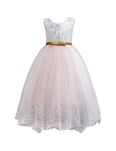 besbomig Kinder Mädchen Hochzeit Brautjungfer Prinzessinenkleid - 4-12 Jahre V-Zurück Gemeinschaft Party Abend Kleider A-Line