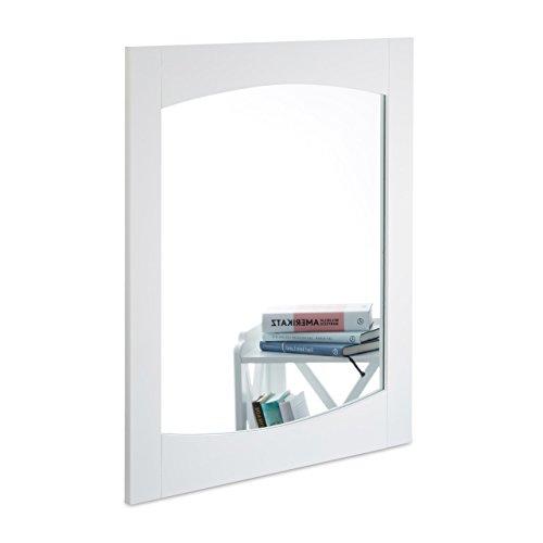 Relaxdays Espejo de Pared con Marco 70x60 cm, Formato Alto, Espejo de Pasillo, Decorativo, Blanco