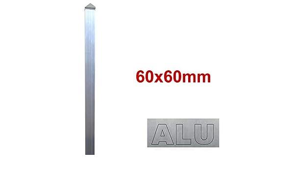 Alu Zaun- Torpfosten zum Einbetonieren BAUER L = 1300mm 60x60x3mm