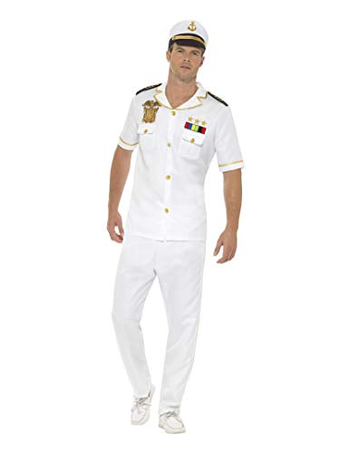 Smiffys Herren Kapitän Kostüm, Oberteil, Hose und Hut, -