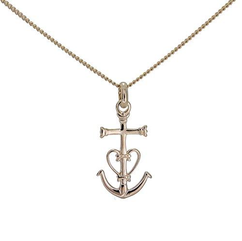 Collier pendentif FEMME petite croix de camargue ancre des saintes Marie de la Mer en vrai plaqué Or et chaine en 45cm dans sa boite