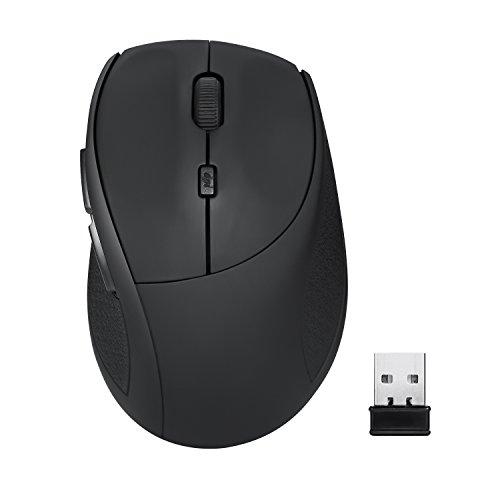 Amir Maus Schnurlos, Ergonomische 2.4G Wireless Maus mit 3 Anpassbaren DPI Level (800 / 1200 / 1600) und Seitentasten für Gaming und Mehr