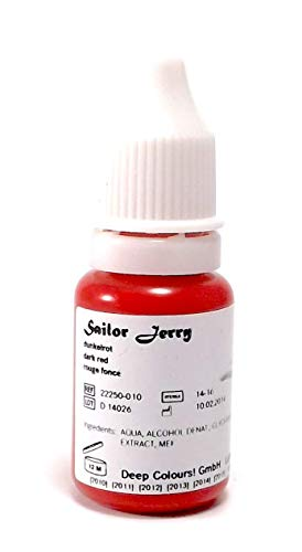 SAILOR JERRY DUNKELROT 10ml - deutsche Tattoofarbe mit Zertifikat - INKgrafiX® IG04123 Tattoo INK Rot Dark Red