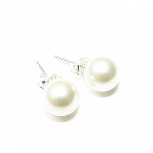 pewterhooter 925 Sterling Silver stud earrings expertly made with round White crystal pearls from SWAROVSKI® for Women