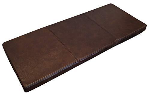 Quattro Meble Dunkelbraun Echtleder Bankauflage Sitzkissen Lederkissen Sitzpolster Bank Auflage doppelt genähtes Echt Leder Kissen Sitzauflage (35 x 80 cm)