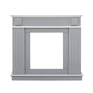 Rebecca Mobili Fireplace Wooden Mantelpiece Light Grey White Sitting Room Home Decoration - 100 x 109 x 26 cm (H x W x D) - Art. RE6053