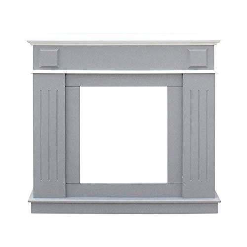 Rebecca Mobili Marco de Chimenea decorativo, chimenea falsa, estilo moderno, blanco gris...