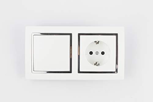 Base schuko con interruptor. Características Tipo base shuko + conmutador Color blanco