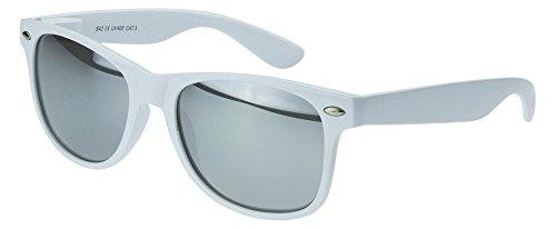 Sense42 verspiegelt Pilotenbrille White Edition weiß Rahmen Sonnenbrille Aviator
