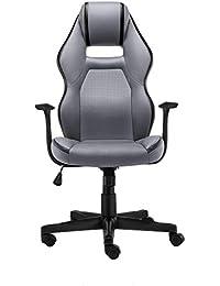 HQQ Home Computer Chair, Silla giratoria Ajustable Silla de Oficina Respaldo Lift Apoyabrazos Black Yellow