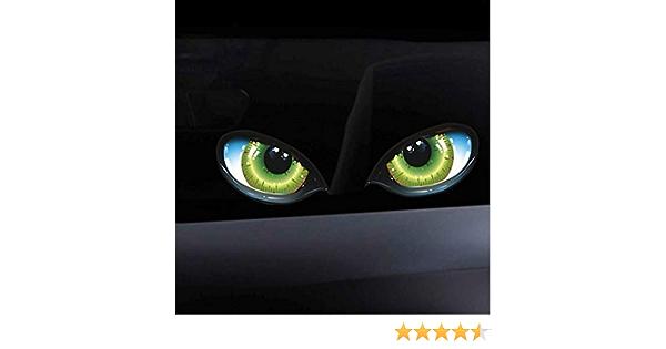 Ballylelly Lustige 3d Stereo Reflektierende Katzenaugen Muster Autoaufkleber Autoseitenkotflügel Augenaufkleber Klebender Rückspiegel Aufkleber Auto