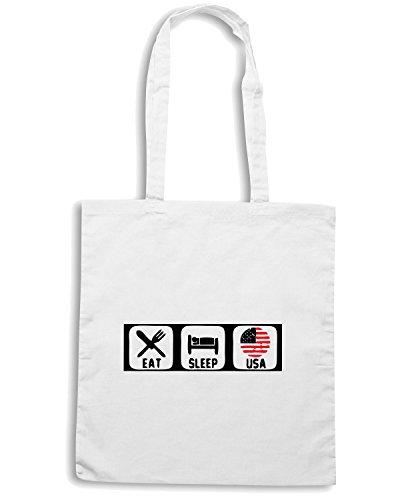 T-Shirtshock - Borsa Shopping WC0621 USA Eat Sleep Soccer Ball World Cup T Shirt Bianco