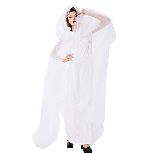 ZMDHL Halloween Kostüm Damen, Halloween Lady Ghost Cape Weiße Geister Braut Cosplay Kostüm Maskerade (Beängstigend Womens Kostüm)