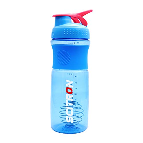 Scitron Plastic Blender Shaker Bottle with Stainless Blender Ball - 760 ml (Blue)