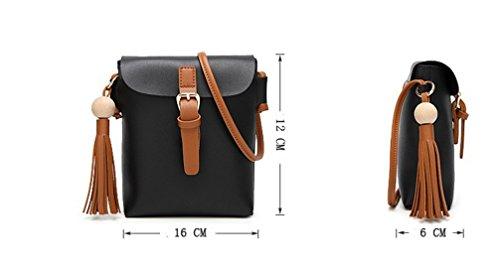 LINNUO Donna Mini Borse a Spalla Borse a Tracolla del PU Cuoio Borse Quadrati Messenger Borse con Nappe (Marrone, 16*12*6cm) Marrone