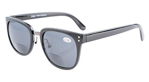 Eyekepper Retro bifokale Sonnenbrillen Maxi-Sonne Leser Schwarz Eahmen/Grau Linsen +3.0