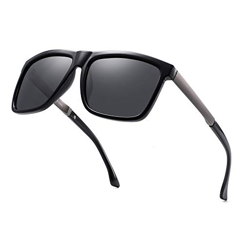 Polarisiert Spiegel Sonnenbrille Platz Fahren Sonne Brille Schatten für Damen Herren(Schwarz/Polarisiertes Grau)