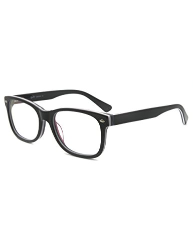 Richmode Men Women Brand Design Rivet Optical Frame Rx-able Acetate Eyeglass (Schwarz-weißer Streifen)