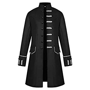 Luckycat Herren Frack Steampunk Gotisch Mantel Victorian Viktorianische Anzug Jacke Zauberer Kostüm für Halloween Fasching Party Herrenmantel Winterjacke Gothic Peacoat Wintermantel