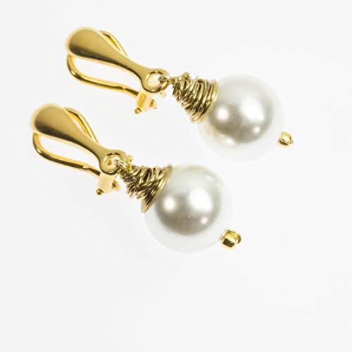 Echte Perlen-Ohrclips vergoldetes Echt-Silber/Handarbeit Braut Gold Geburtstag Mutter Hochzeit edel schlicht Edelstein