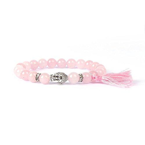 Ibiza Buddha - Pulsera artesana con perlas de cuarzo rosa
