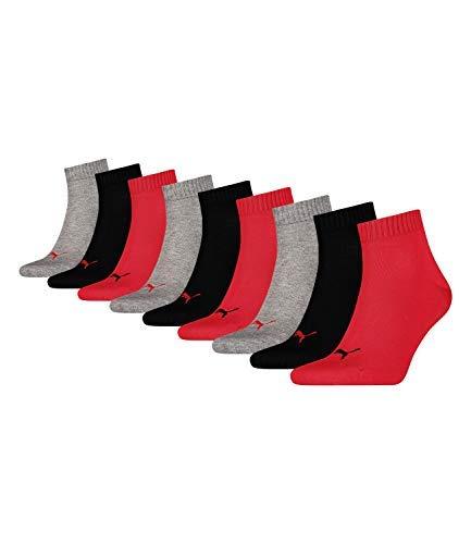 Puma Socken Quarter Sneakers Damen, Herren 9er Pack (Rot/Grau/Schwarz, 43-46 (UK 9-11))