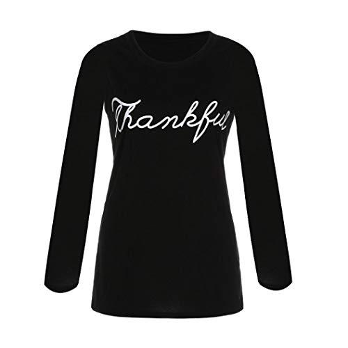 iHENGH Vorweihnachtliche Karnevalsaktion Damen Herbst Winter Bequem Lässig Mode Frauen Herbst beiläufiger Buchstabe Druck Lange Hülsenbluse T Shirt Tops(XL,Schwarz)
