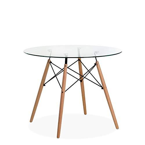 Noorsk Design Mesa Redonda de Comedor o Cocina Tower Cristal 80 ...