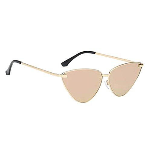 MagiDeal Vintage Damen Cat Eye Dreieck Sonnenbrille Retro Brillen Metall Gestell Sonnenbrillen Polarisierte Linsen - Goldrahmen Sakura rosa Linse