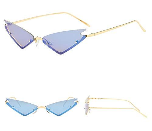 WSKPE Sonnenbrille,Sexy Cat Eye Sonnenbrille Frauen Mode Trompete Dreieck Rahmenlose Metall Farbe Film Coating Gläser Uv 400 Gold Frame EIS,Blaue Linse - Eis-piloten