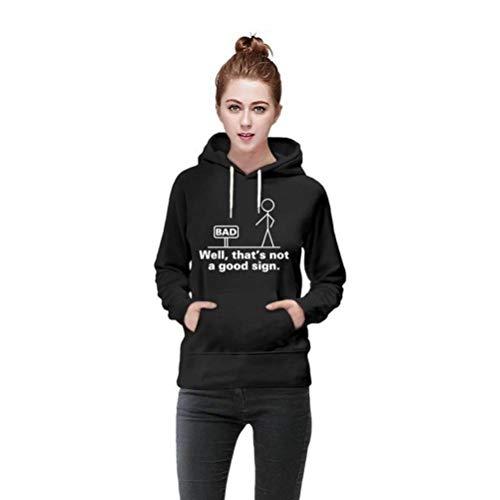 D-X Stilvoller und Einfacher, Neunfarbiger, Bequemer Damen-Pullover mit Kapuze, Schwarz, 2XL -