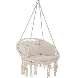 TecTake 800708 Fauteuil Suspendu Relax Design de Jardin en Coton, 1 Place, Intérieur et extérieur, Coussins Confortables…