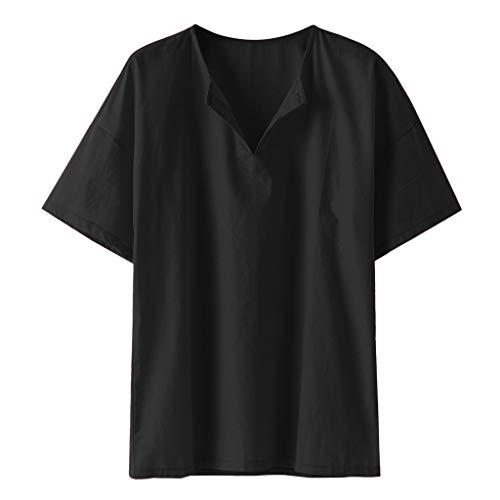 Vovotrade top a manica lunga da uomo camicia di lino del cotone degli uomini di colore solido a maniche lunghe t-shirt in cotone lino v-neck beach yoga camicetta