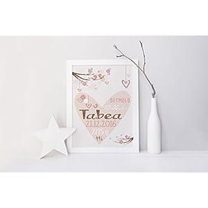 SomethingCute: Geburtsbild Design TABEA / Geschenk zur Geburt, zur Taufe, Taufgeschenk, Geburtsgeschenkt, Fine Art Print
