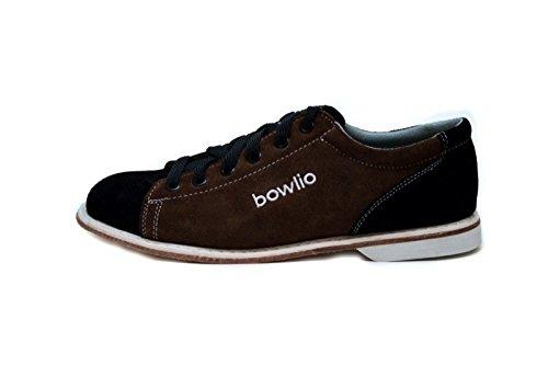 Bowlio Supreme - Chaussures de bowling en cuir de velours noir et brun - Adulte et enfant Schwarz/Braun