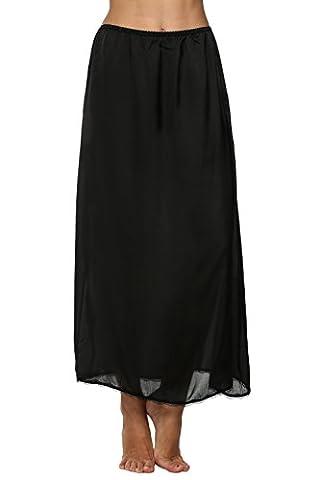 CRAVOG Mode Elégante Lingerie Jupon Jupe Longue Satin Ourlet Dentelle Mi Robe Glisser Avec Taille élastique