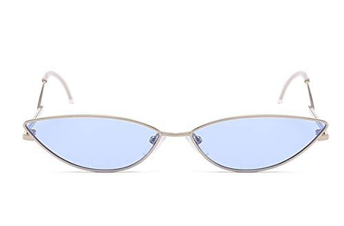 KnSam Polarisierte UV400 Schutz Ultraleicht Rahmen Katzenauge Damen Silber Blau Sonnenbrillen Fahrerbrille