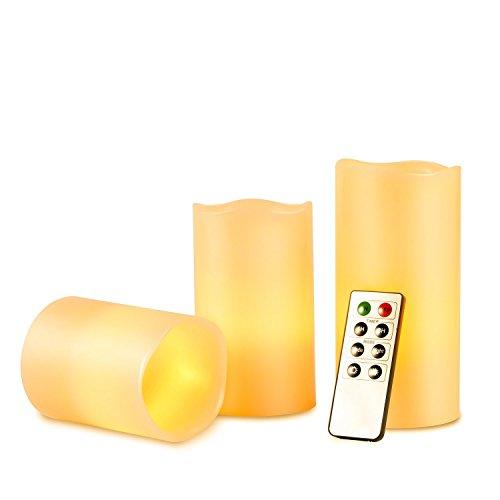 3unidades LED sin llama velas de cera con mando a distancia y temporizador