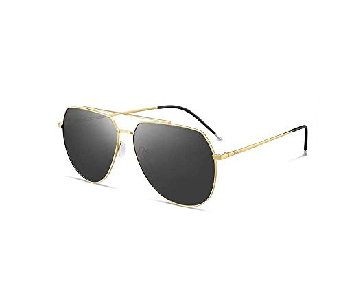 ZTMN Polarisierte Sonnenbrille männer Fahren Klassische einfache Freizeit Reise uv-Schutz Multicolor optional (Farbe: Gold Rahmen schwarz Film)