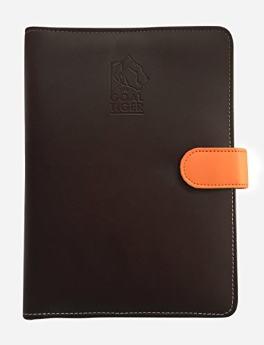 The Goal Tiger - 2017 - Goal Oriented Dated Planner & Productivity Tool Leather Jacket with Penholder & Credit cardholder(Brown)