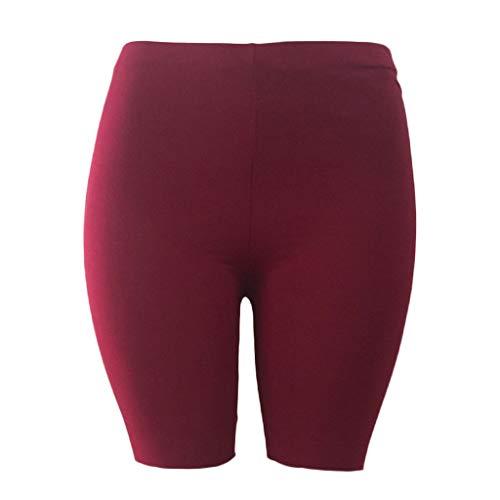 Bike-shorts-leggings (zhaogggg Mädchen Fitness Half Tights High Waist Quick Dry Skinny Yoga Bike Shorts Leggings Gr. M, burgunderfarben)