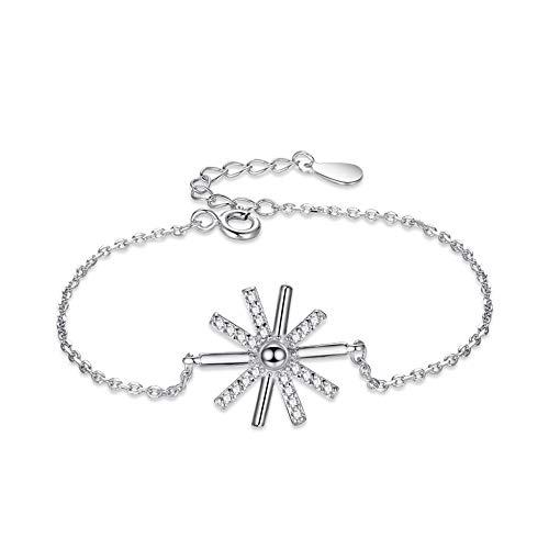 ZhongYi Einfache Sterling Silber Diamant Fan Sonnenblume